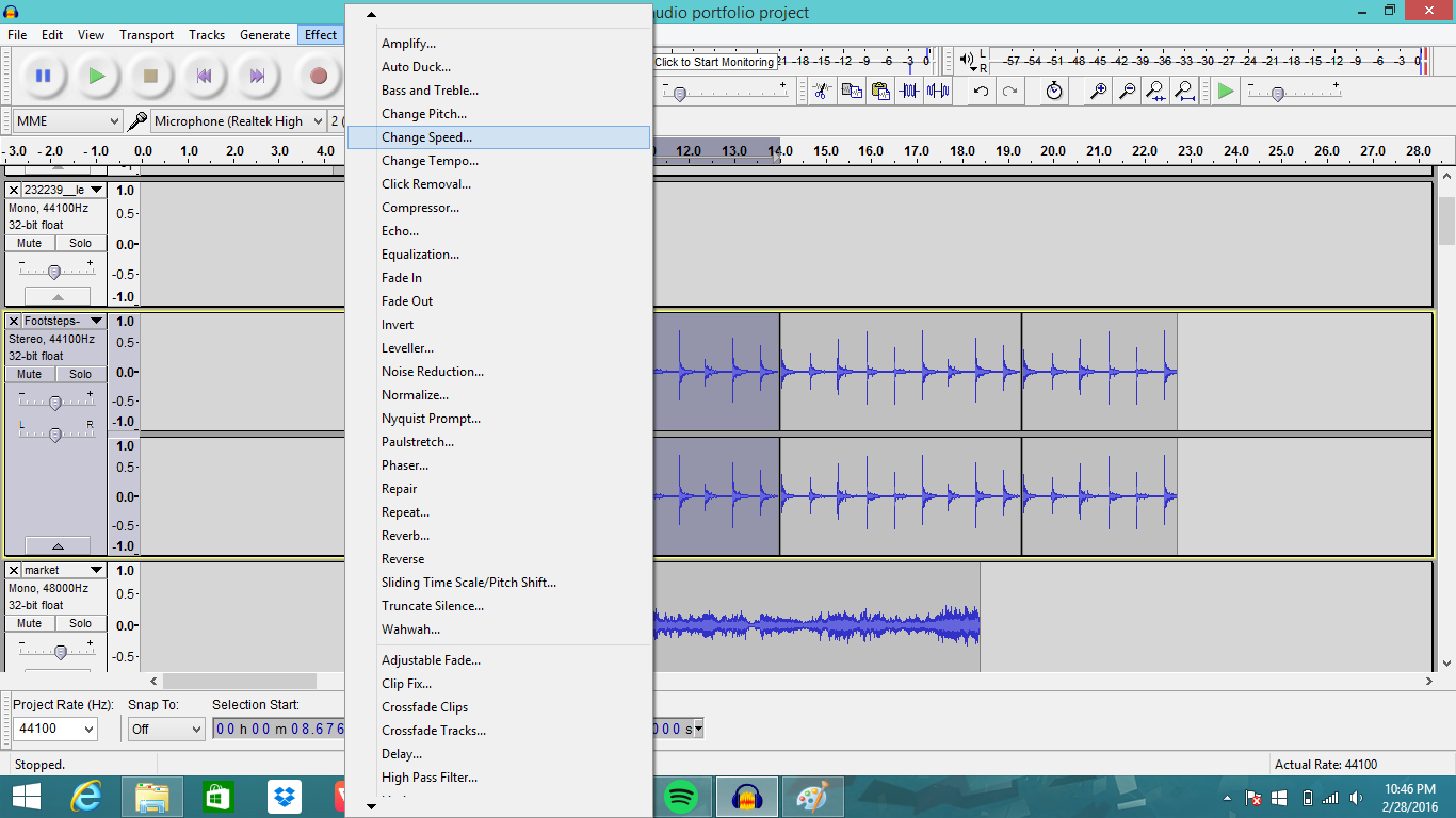how to change the speed of a song in audacity